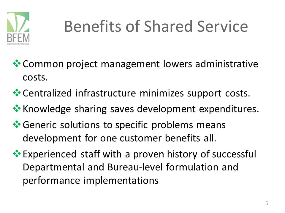 Benefits of Shared Service