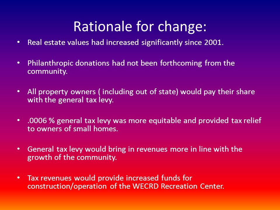 Rationale for change: Real estate values had increased significantly since 2001.
