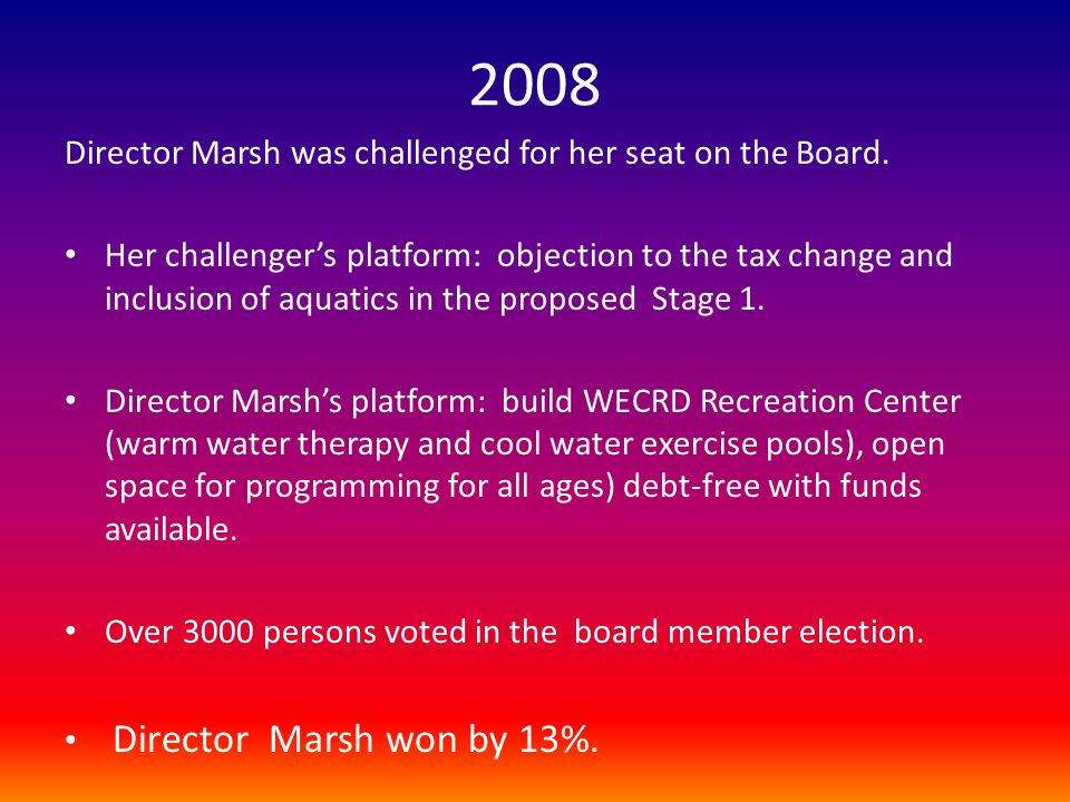 2008 Director Marsh was challenged for her seat on the Board.