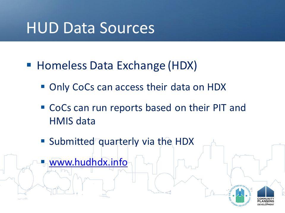 HUD Data Sources Homeless Data Exchange (HDX)