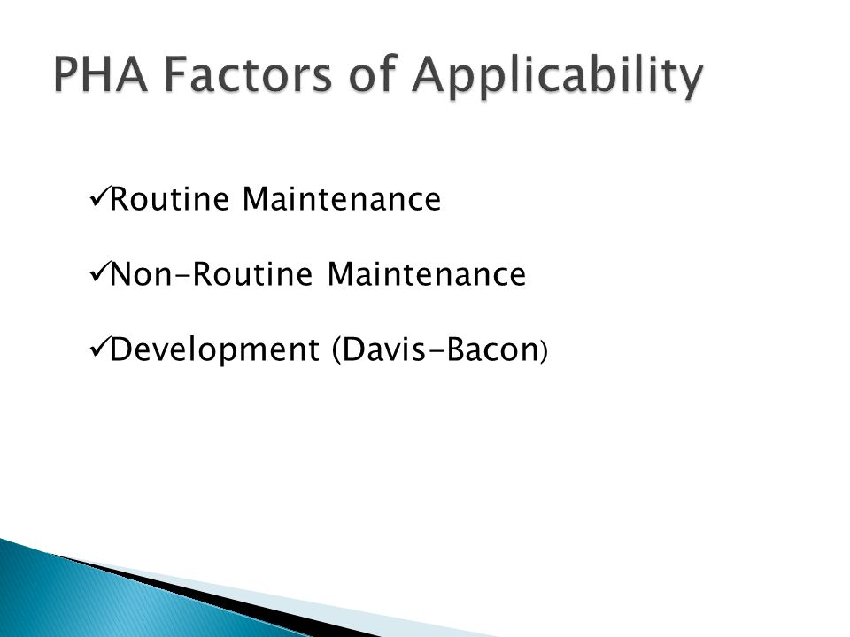 PHA Factors of Applicability