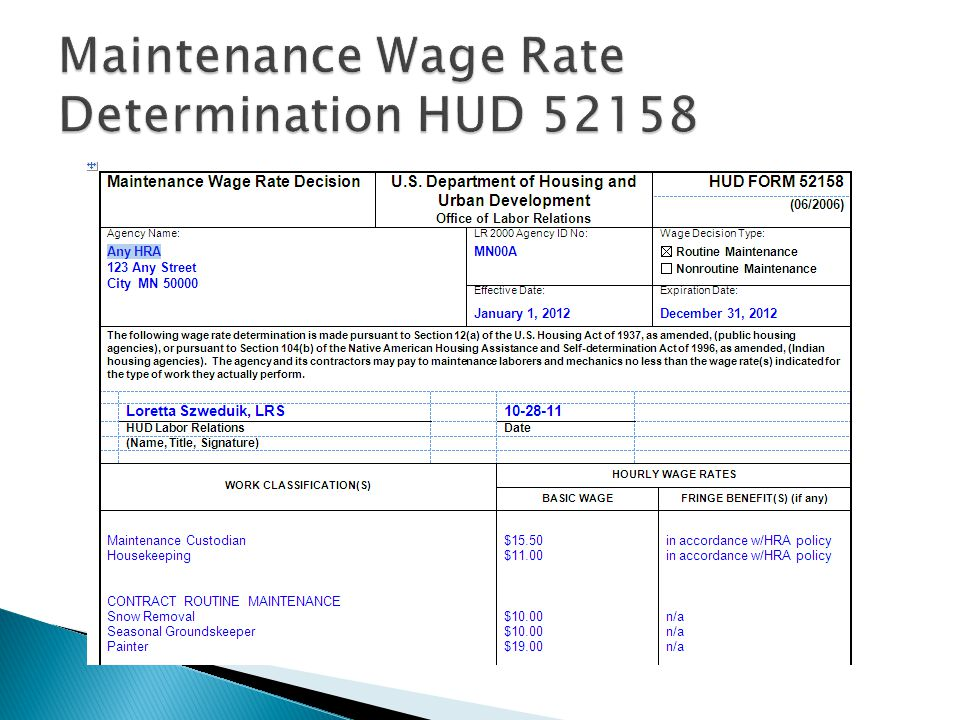 Maintenance Wage Rate Determination HUD 52158
