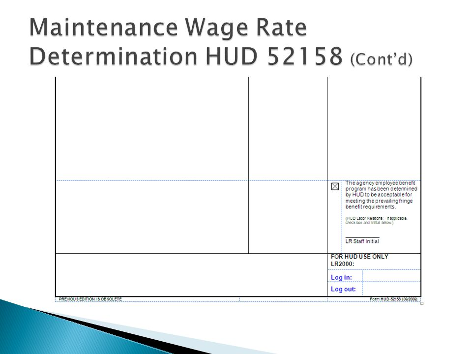 Maintenance Wage Rate Determination HUD 52158 (Cont'd)