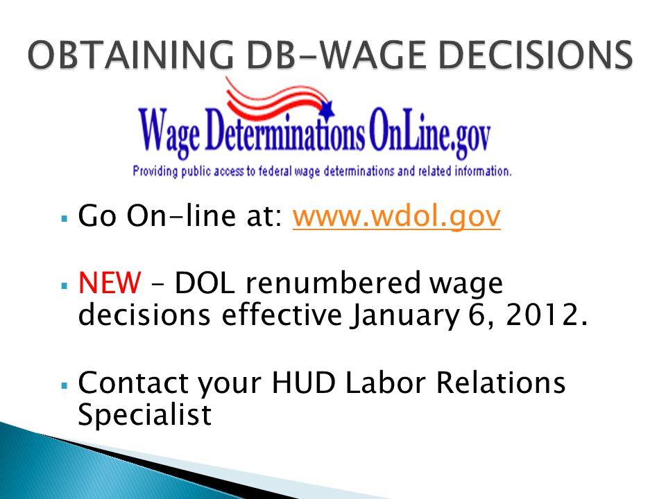 OBTAINING DB-WAGE DECISIONS