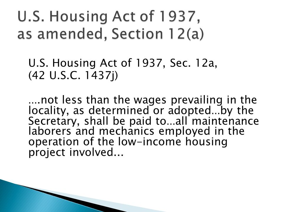 U.S. Housing Act of 1937, as amended, Section 12(a)