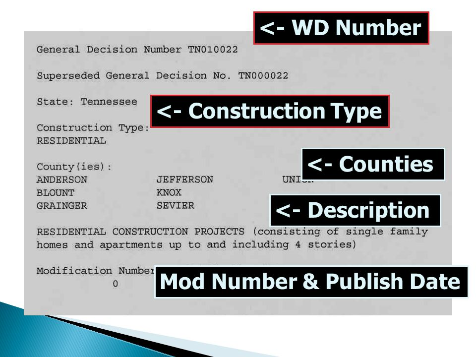 <- WD Number <- Construction Type <- Counties <- Description Mod Number & Publish Date