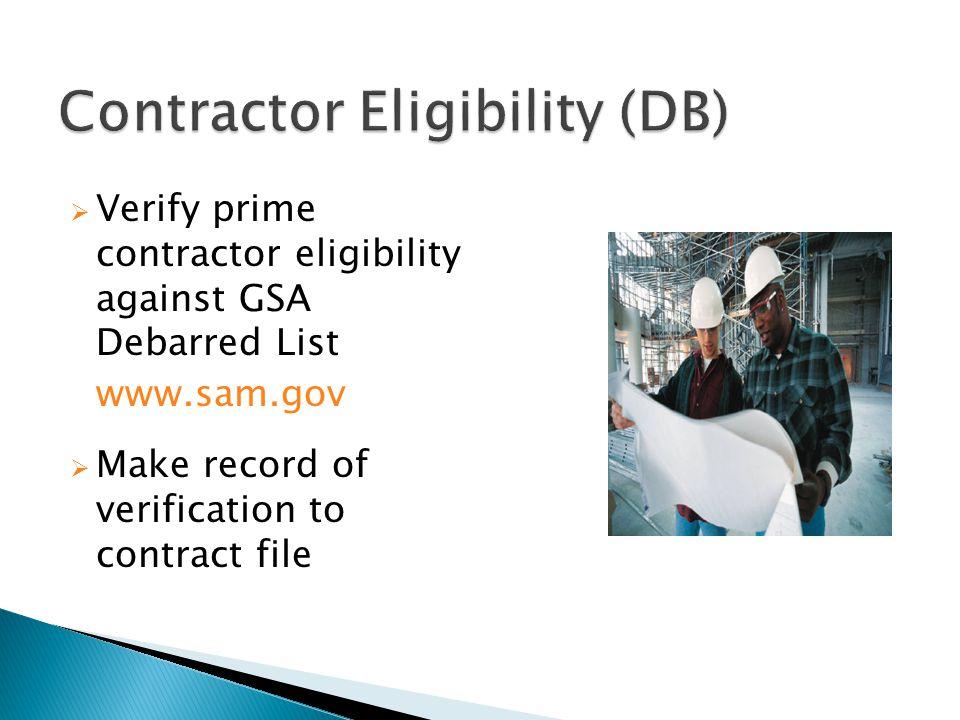Contractor Eligibility (DB)