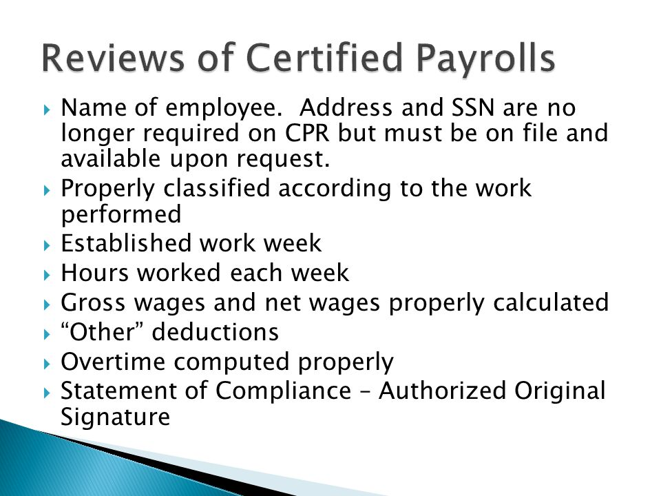 Reviews of Certified Payrolls