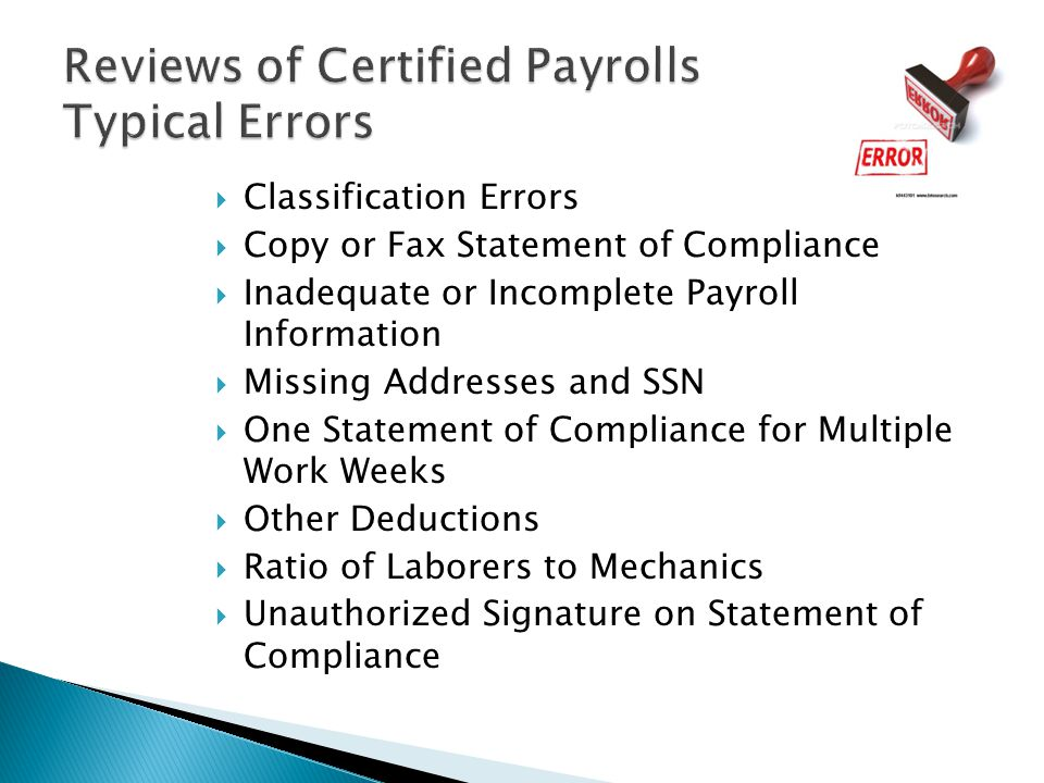 Reviews of Certified Payrolls Typical Errors