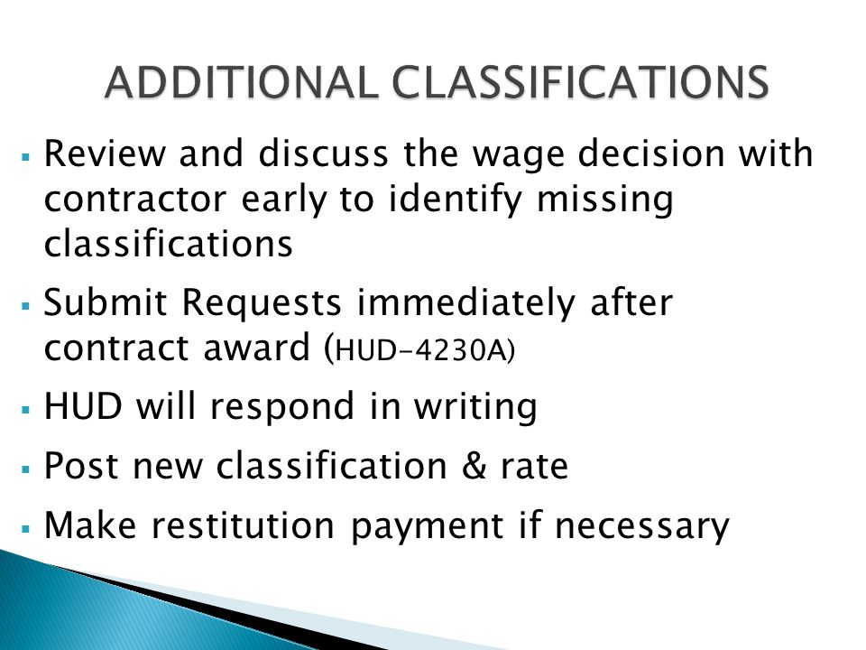 ADDITIONAL CLASSIFICATIONS