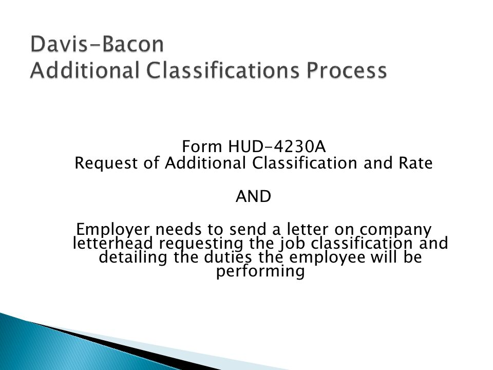 Davis-Bacon Additional Classifications Process