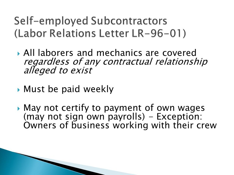 Self-employed Subcontractors (Labor Relations Letter LR-96-01)