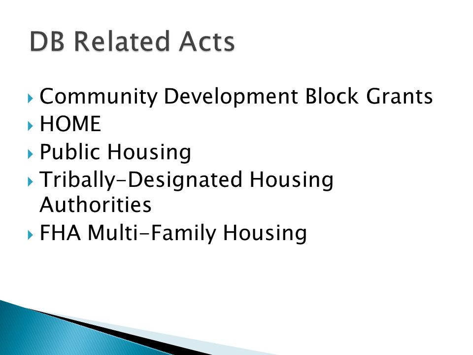 DB Related Acts Community Development Block Grants HOME Public Housing
