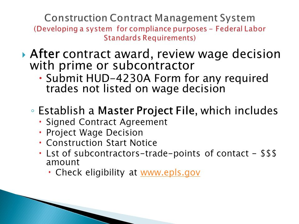 After contract award, review wage decision with prime or subcontractor