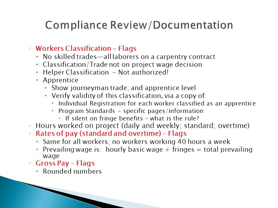 Compliance Review/Documentation