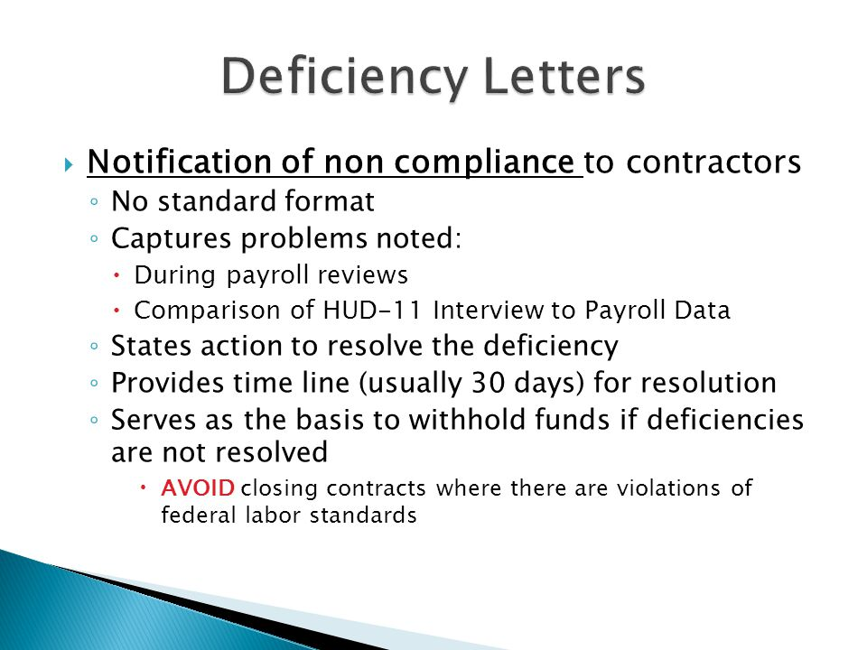 Deficiency Letters Notification of non compliance to contractors