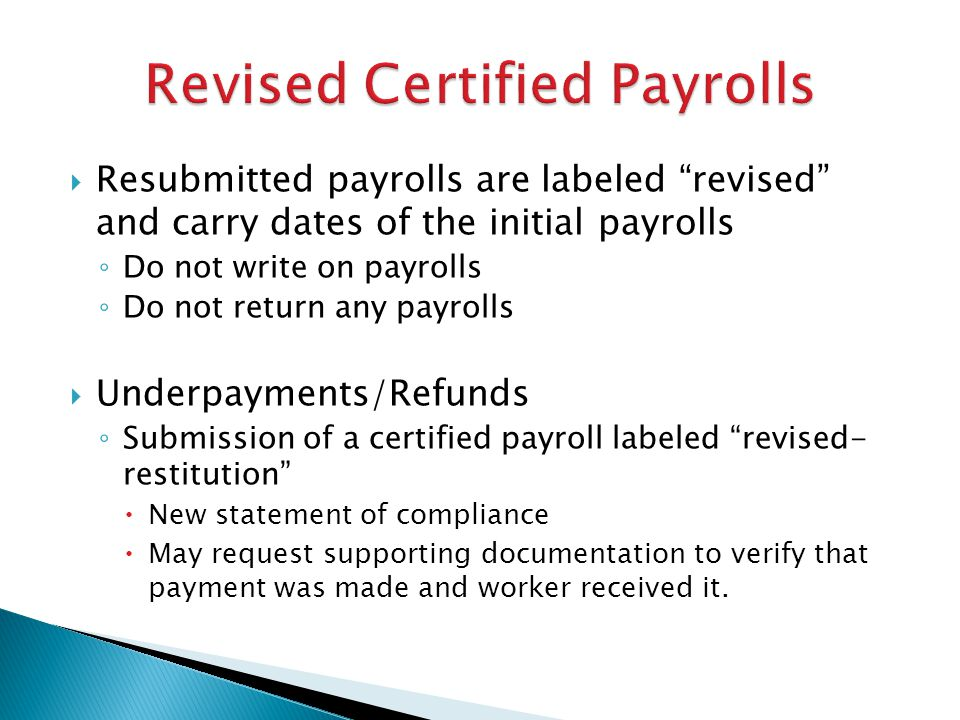 Revised Certified Payrolls