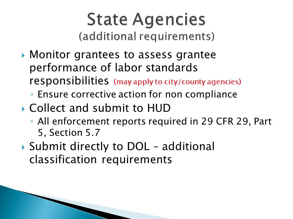 State Agencies (additional requirements)