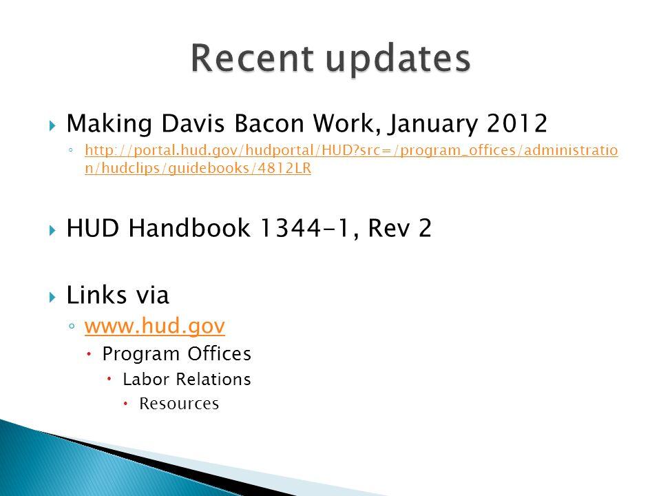 Recent updates Making Davis Bacon Work, January 2012
