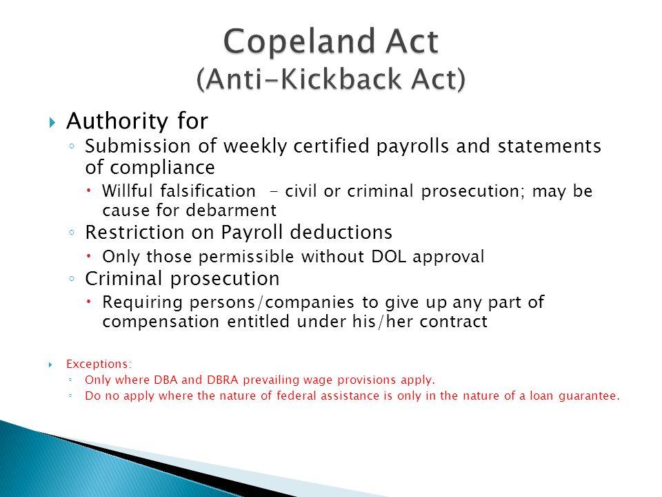 Copeland Act (Anti-Kickback Act)