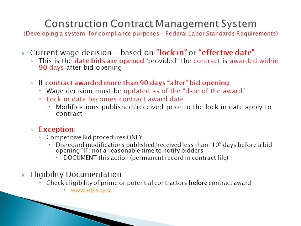 Construction Contract Management System (Developing a system for compliance purposes - Federal Labor Standards Requirements)