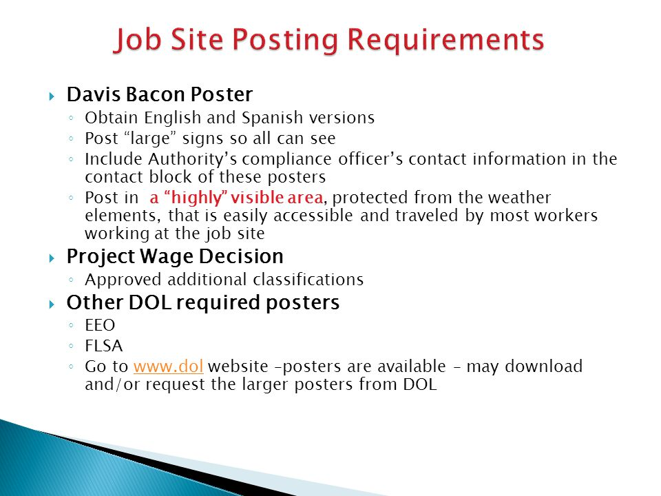 Job Site Posting Requirements