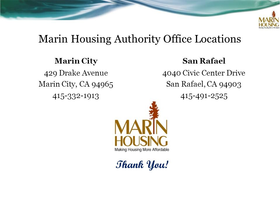 Marin Housing Authority Office Locations