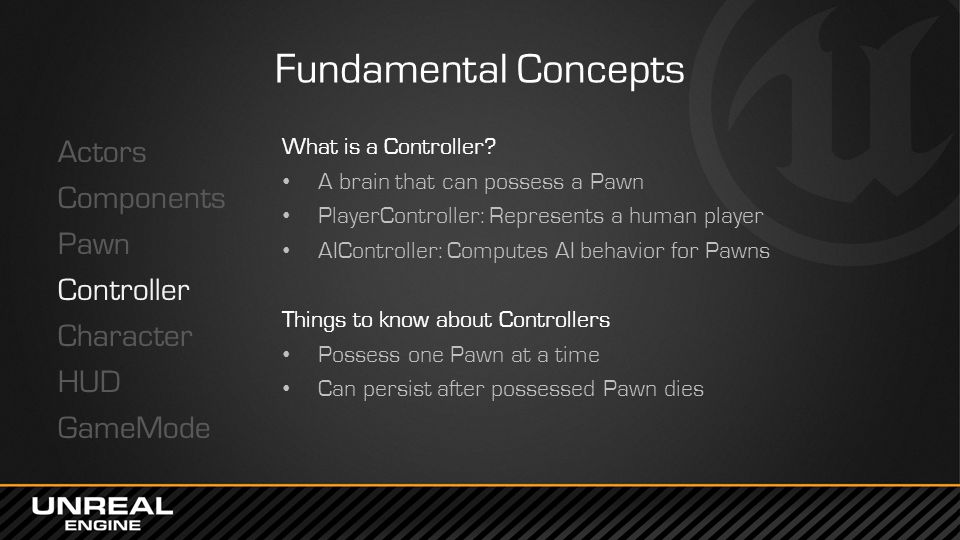 Fundamental Concepts Actors Components Pawn Controller Character HUD GameMode What is a Controller