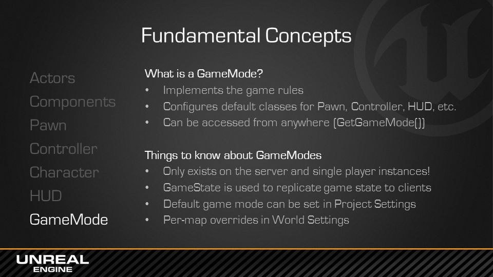 Fundamental Concepts Actors Components Pawn Controller Character HUD GameMode What is a GameMode