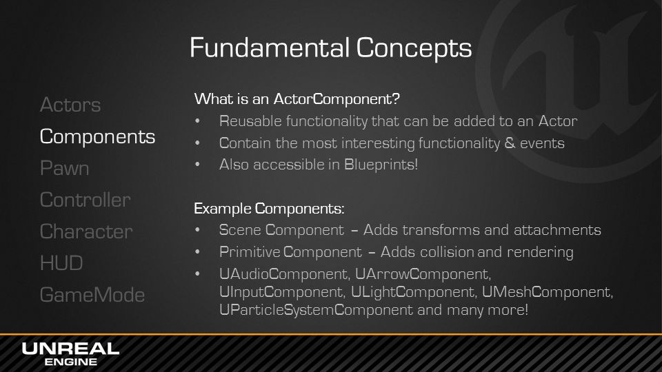Fundamental Concepts Actors Components Pawn Controller Character HUD GameMode What is an ActorComponent