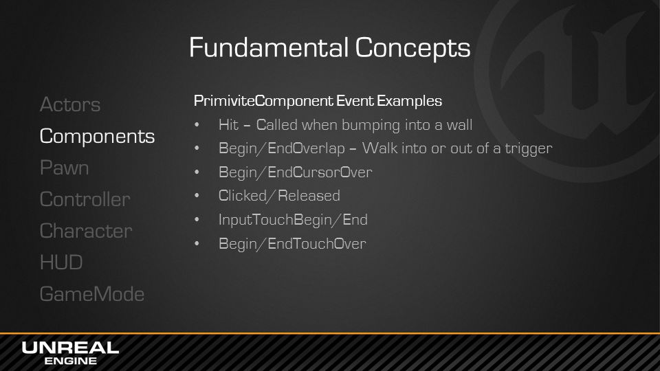 Fundamental Concepts Actors Components Pawn Controller Character HUD GameMode PrimiviteComponent Event Examples.