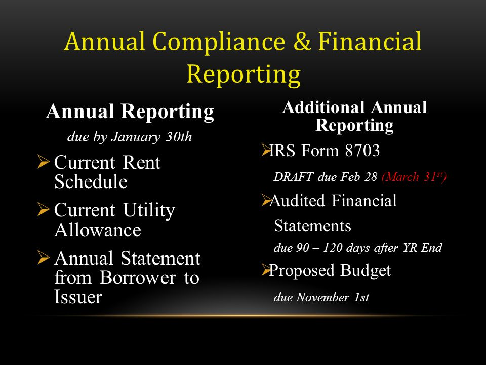 Annual Compliance & Financial Reporting