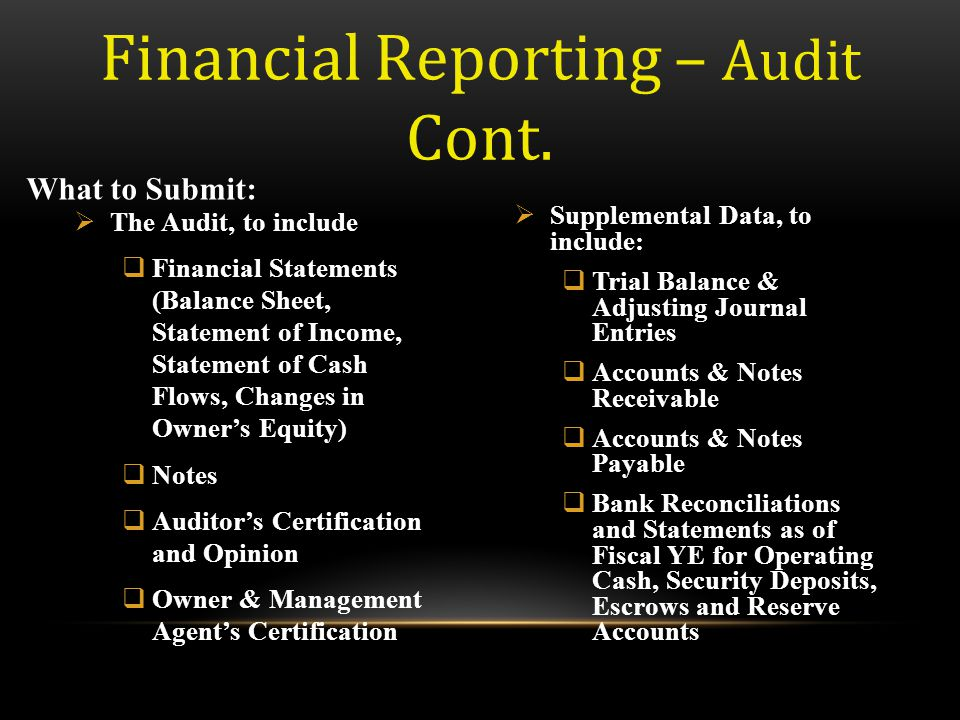 Financial Reporting – Audit Cont.