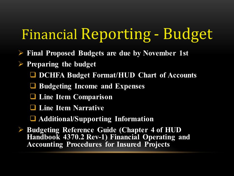 Financial Reporting - Budget