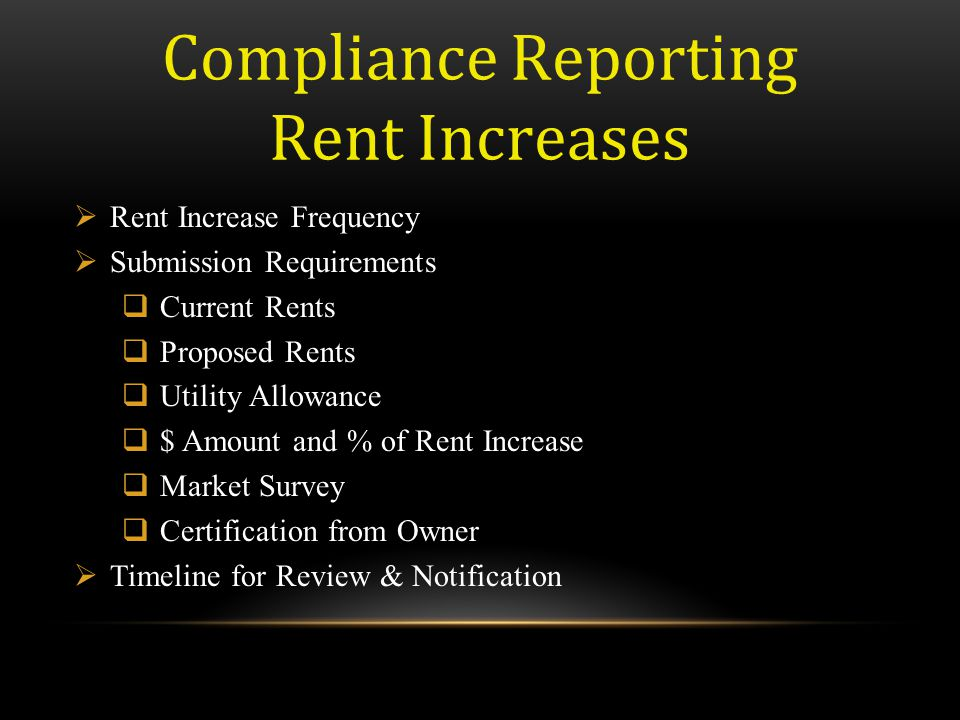Compliance Reporting Rent Increases