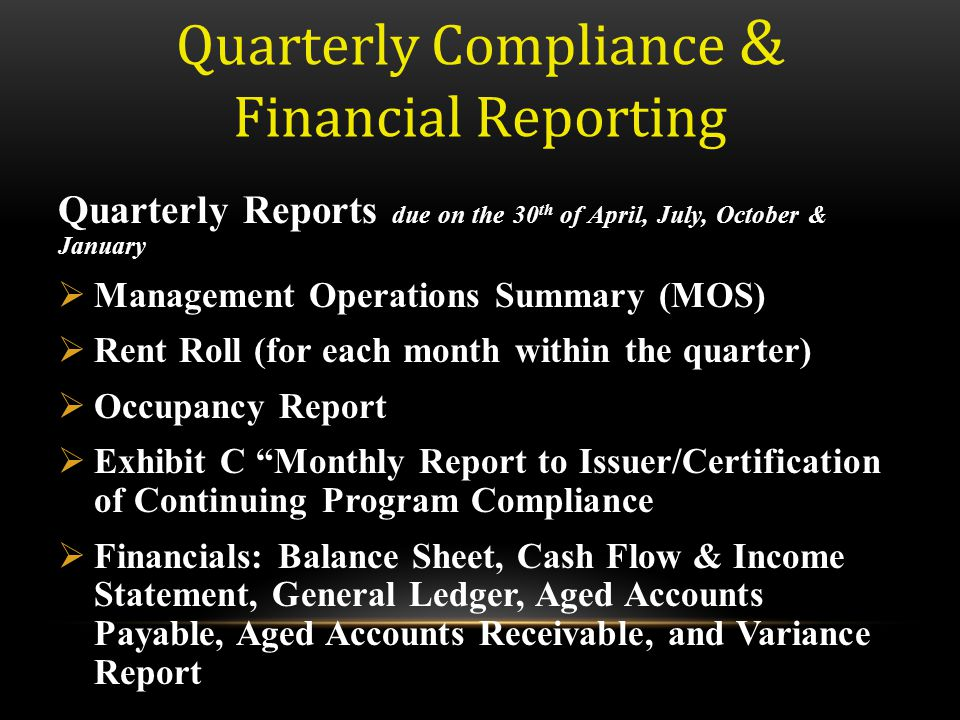 Quarterly Compliance & Financial Reporting