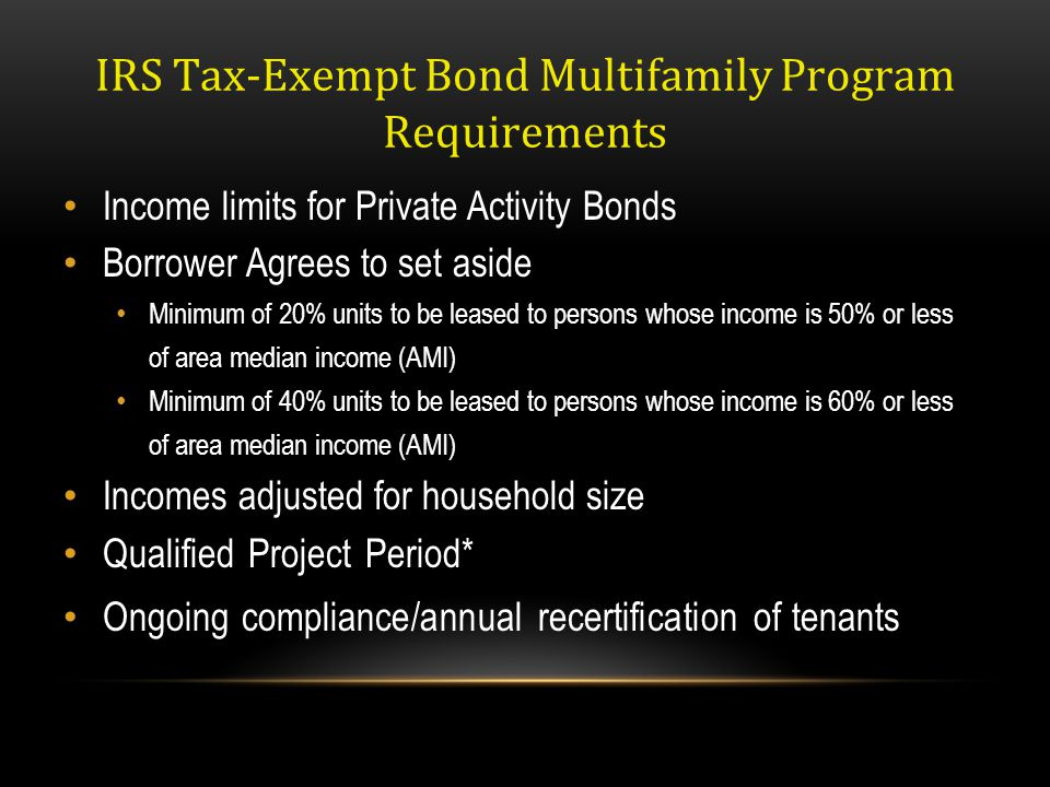 IRS Tax-Exempt Bond Multifamily Program Requirements
