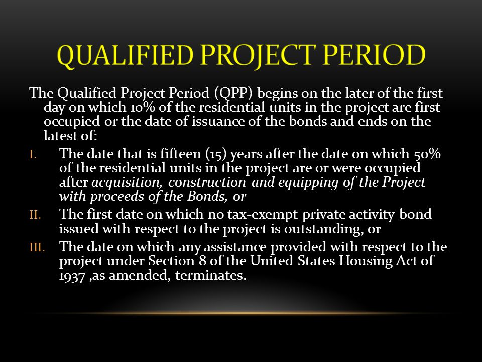 QUALIFIED PROJECT PERIOD