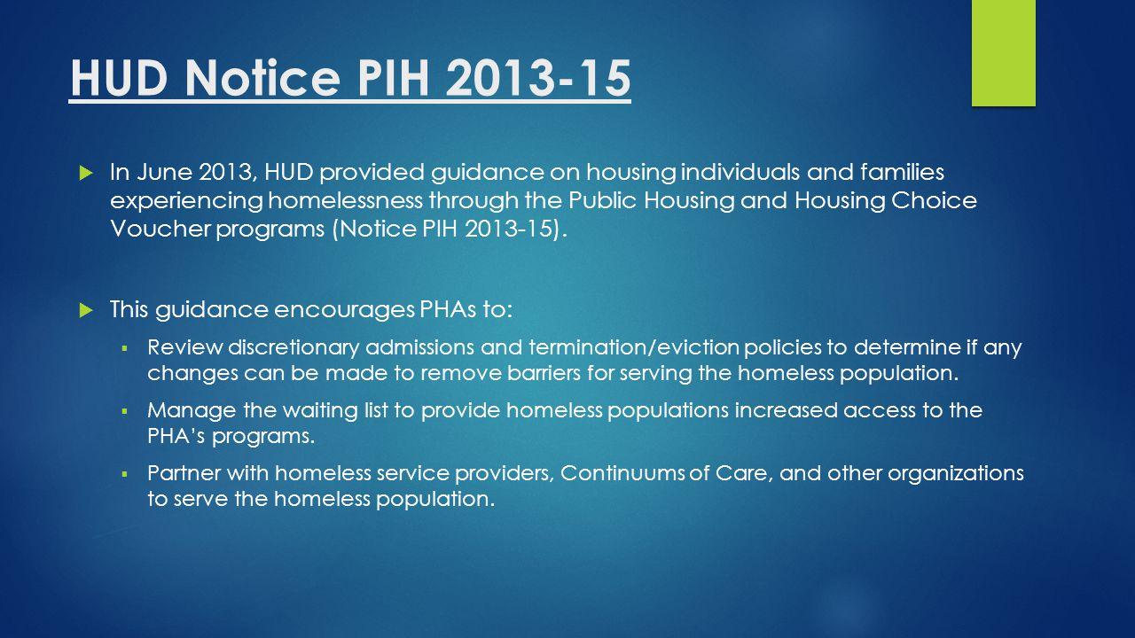 HUD Notice PIH 2013-15