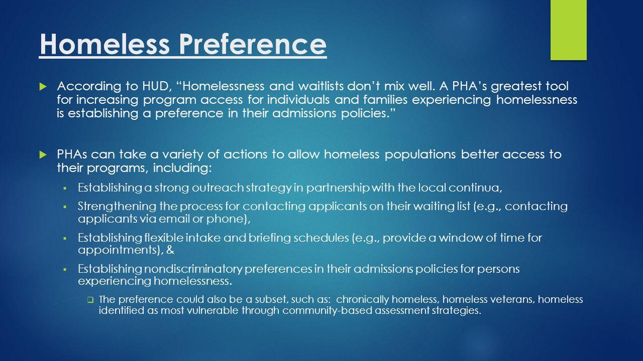 Homeless Preference