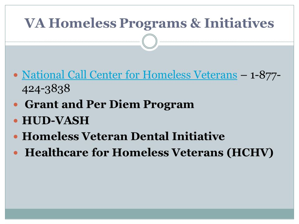 VA Homeless Programs & Initiatives