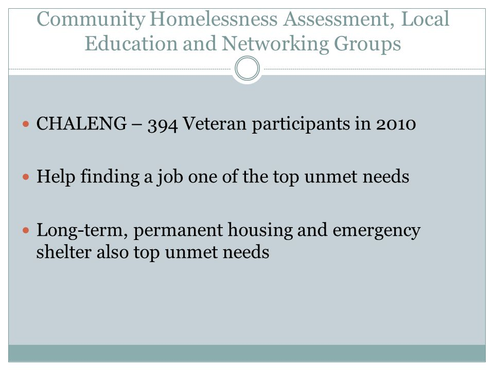 Community Homelessness Assessment, Local Education and Networking Groups