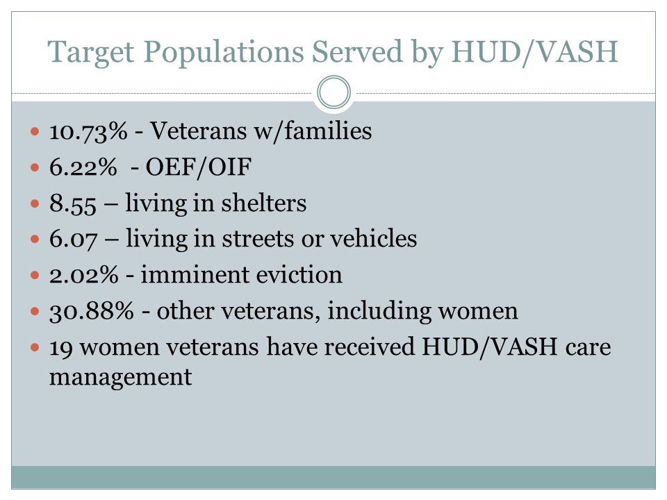 Target Populations Served by HUD/VASH