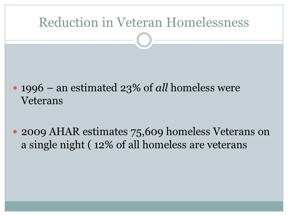 Reduction in Veteran Homelessness