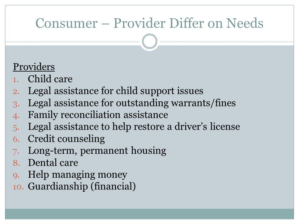 Consumer – Provider Differ on Needs