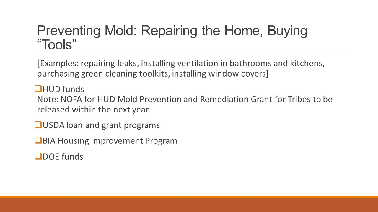 Preventing Mold: Repairing the Home, Buying Tools