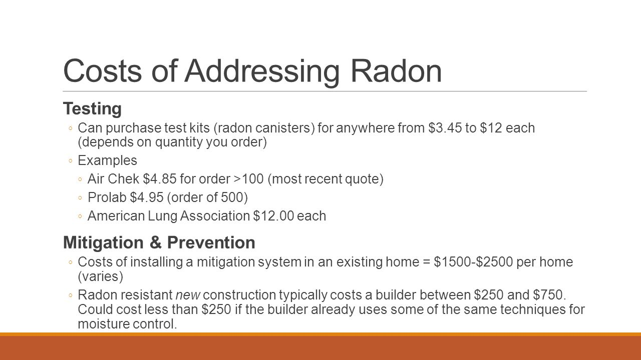 Costs of Addressing Radon