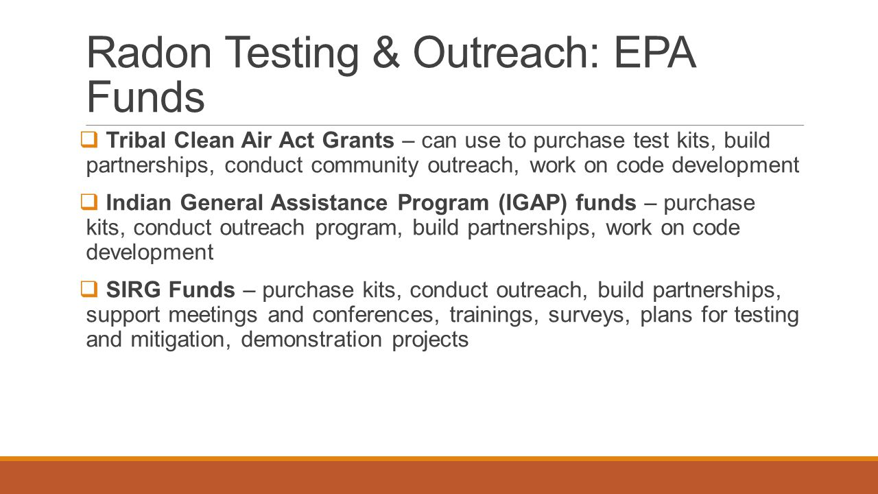 Radon Testing & Outreach: EPA Funds