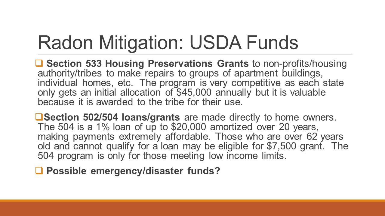 Radon Mitigation: USDA Funds