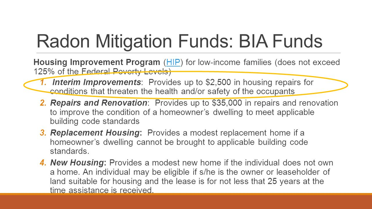 Radon Mitigation Funds: BIA Funds